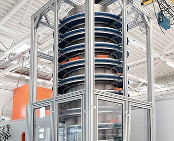 Transportador em espiral para otimizar o fluxo de material