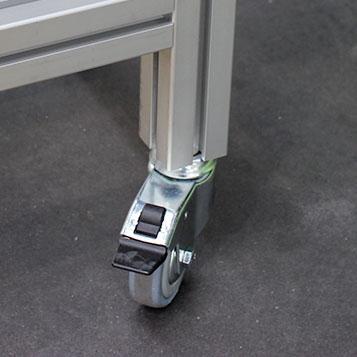Feet, wheels, floor fastenings, cross beams