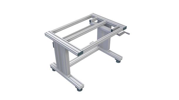 Hydraulically height-adjustable table