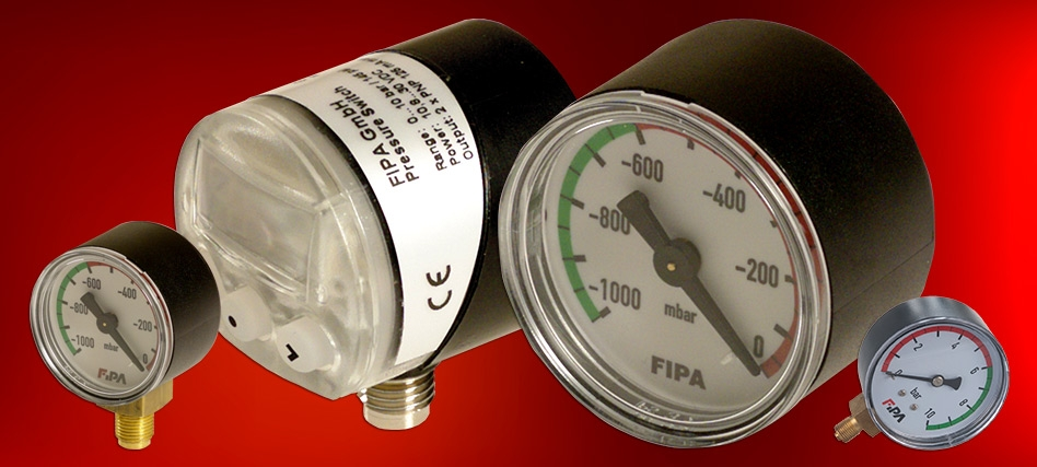 Monitorize visualmente circuitos de vácuo com manómetros FIPA